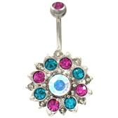 Glistening Lotus Flower Fuchsia/Teal Gem Belly Ring