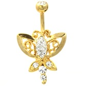 Royal Butterfly Gold Plated Belly Ring