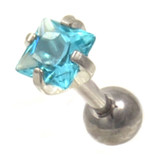 Aqua Square Cut CZ Cartilage Tragus Bar 16g 1/4""