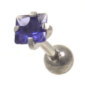 Tanzanite Square Cut CZ Cartilage Tragus Bar 16g 1/4""