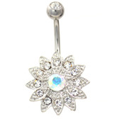 Chrysanthemum Flower Clear Gemmed Belly Ring