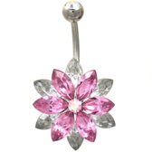 Majestic Pink & Clear Lotus Flower Belly Ring