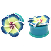 "Blue Tropical Flower Single Flared Acrylic Plugs (6g-1"")"