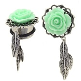 "Green Rose & Leaves Dangle Plugs (2g-1"")"