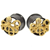 "Gold Plated Octopus Black Steel Tunnels (2g-5/8"")"