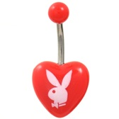 Red Playboy Bunny Logo Acrylic Heart Belly Ring