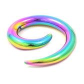 Rainbow Titanium Spiral Ear Tapers Stretchers (12g-0g)