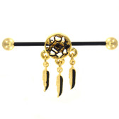 Dangling Dreamcatcher Gold Industrial Barbell 14g 35mm
