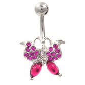 Icy Butterfly Hot Pink Gemmed Belly Ring