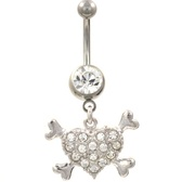 Heart & Bones Clear CZ Gems Belly Ring
