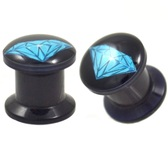 "Blue Diamond Logo Black Acrylic Plugs (2g-1"")"