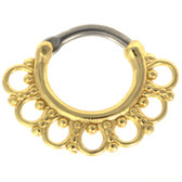 Ornate Design Gold Plated Septum Clicker (16G/14G)