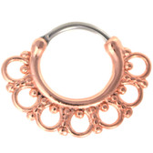 Ornate Design Rose Gold Septum Clicker (16G/14G)