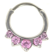 Pink 5-CZ Rounded Steel Septum Clicker (16G/14G)
