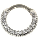 Clear CZ Gem Lined Septum Clicker Jewelry (16G/14G)