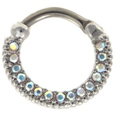 AB CZ Gem Lined Septum Clicker Jewelry (16G/14G)