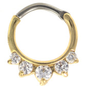 Clear 5-CZ Gold Plated Septum Clicker (16G/14G)