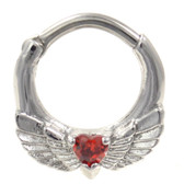 Red Heart & Wings Septum Clicker Jewelry (16G/14G)