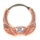 Heart & Rose Gold Wings Septum Clicker (16G/14G)