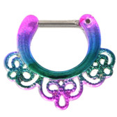Jazzy Rainbow Filigree Septum Clicker (16G)