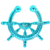 Neon Blue Nautical Ships Wheel Fake Septum Ring