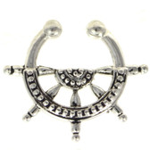 Nautical Ships Wheel Fake Septum Ring Jewelry