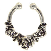 Triple Rose Fake Septum Ring Jewelry