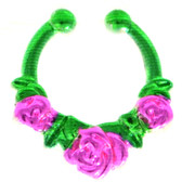 Green/Pink Triple Rose Fake Septum Ring Jewelry