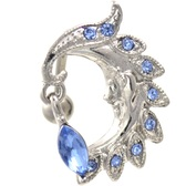 Blue Gems Moon Sliver Face Top Down Belly Ring