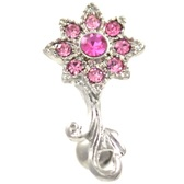 Pink CZ Encrusted Flower Top Down Belly Ring