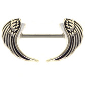 PAIR- Antique Angel Wings Nipple Ring Bars 14g 5/8""