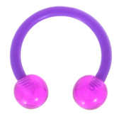 Purple Flexible Acrylic Horseshoe Ring 16G/14G