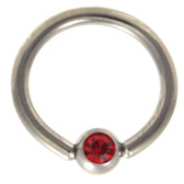 Red Cz Gem Captive Bead Ring CBR 16G/14G