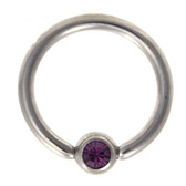 Purple Cz Gem Captive Bead Ring CBR 16G/14G