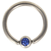 Blue Cz Gem Captive Bead Ring CBR 16G/14G