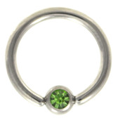 Green Cz Gem Captive Bead Ring CBR 16G/14G