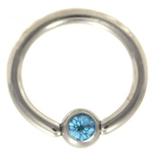 Aqua Cz Gem Captive Bead Ring CBR 16G/14G