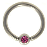 Pink Cz Gem Captive Bead Ring CBR 16G/14G