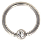 Clear Cz Gem Captive Bead Ring CBR 16G/14G
