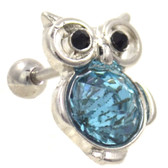 Bejeweled Blue Owl Cartilage Earring Stud 16g
