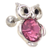 Bejeweled Pink Owl Cartilage Earring Stud 16g
