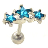 Aqua CZ Triple Star Cartilage Earring Stud 16g 1/4""