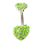 Double Paved Hearts Green Belly Ring