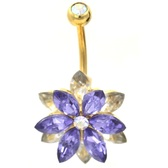 Majestic Purple & Clear Lotus Flower Belly Ring