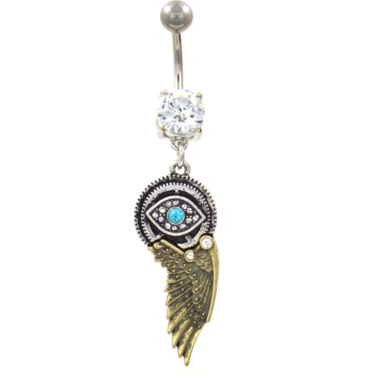 Evil Eye And Bronze Wing Belly Ring