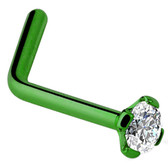Clear CZ Green Titanium L Shaped Nose Ring
