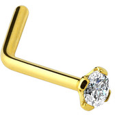 Clear CZ Gold Plated L Shaped Nose Ring