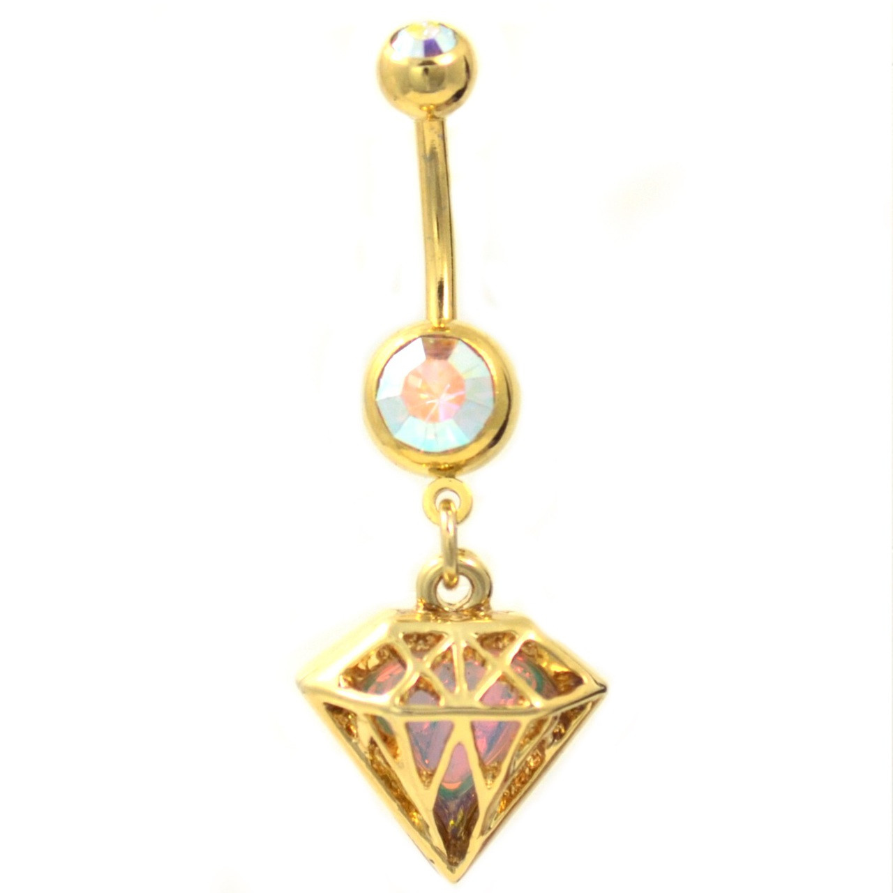 Iridescent Background Gold Diamond Belly Ring