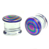 "Rainbow Oil Slick Pyrex Glass Plugs (12g-7/8"")"