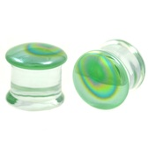 "Green Oil Slick Pyrex Glass Plugs (12g-7/8"")"